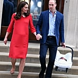 William made his debut as Louis's dad at St. Mary's Hospital in England next to Kate.