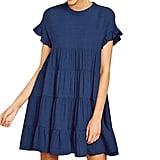 Joteisy O Neck Ruffle Short Sleeve Tiered Casual Mini Dress
