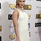 Emily Blunt struck a pose in a white Miu Miu dress at the Critics' Choice Awards.