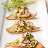 Hamachi Ceviche With Avocado on Fried Wontons