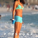 Selena Gomez wore a blue bikini while filming Spring Breakers in Florida in August 2012.