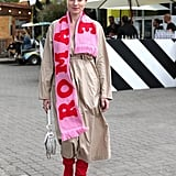 Choose a Pink Scarf and Style It With Red Boots