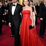 Natalie Portman and Benjamin Millepied hit the red carpet at the 2012 Oscars.