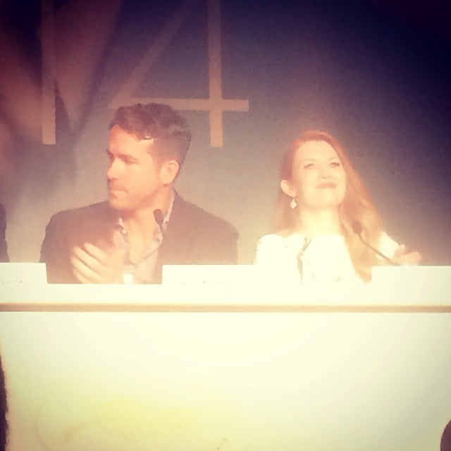 We caught a snap of Ryan Reynolds and Mireille Enos at the press conference for The Captive, where Ryan joked about the worst advice he ever got from a director: to avoid blinking!