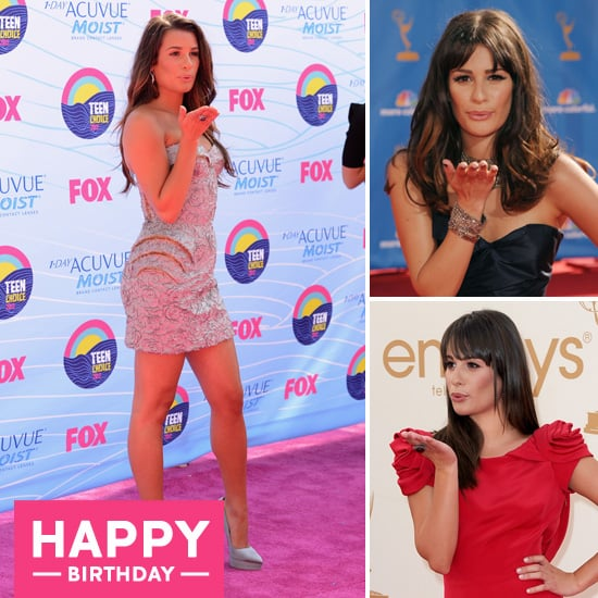Lea Michele Blowing a Kiss Pose on Red Carpet Pictures