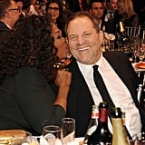Oprah gave Harvey Weinstein a kiss on the cheek at the Critics' Choice Awards.