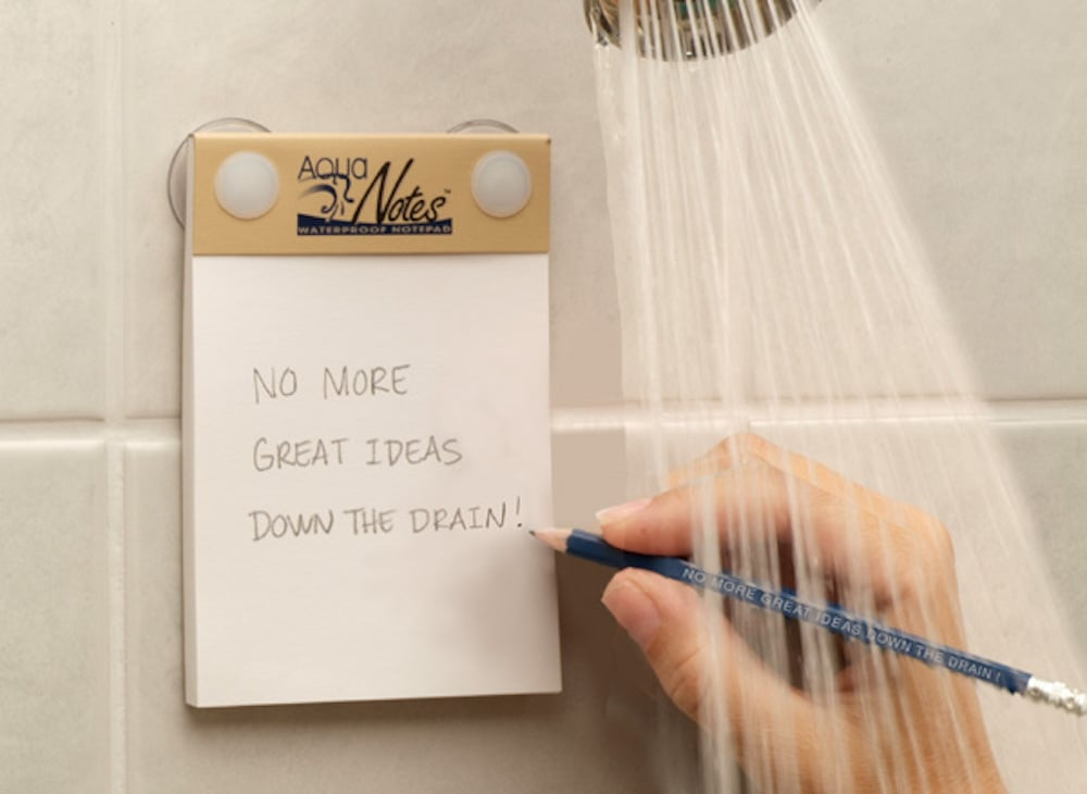 For the Scatterbrained Gal Who's Struck With Inspiration at Inopportune Times: Waterproof Notepad