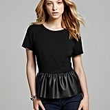 With just a little leather, this French Connection peplum top ($98) takes on an edgier feel.