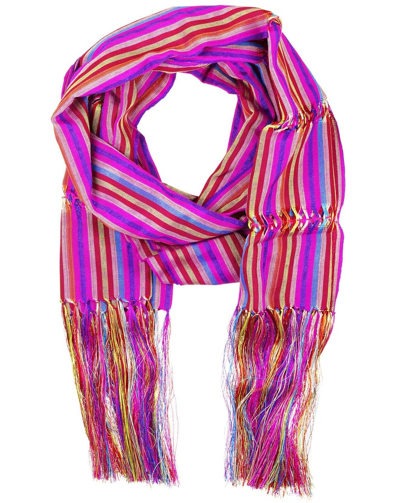 How could we resist this superstriped Mexican handmade scarf? Layer atop a mix of prints or just add to an all-white look — either way, it's vibrant and versatile.  Celeste House Mexican Handcrafted Scarf ($60)