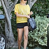 Nicole Richie stayed true to her bohemian-styling roots with a wide-brimmed fedora to top her yellow tee and cutoffs.