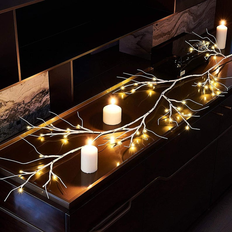 LED White Birch Branch Indoor Garland
