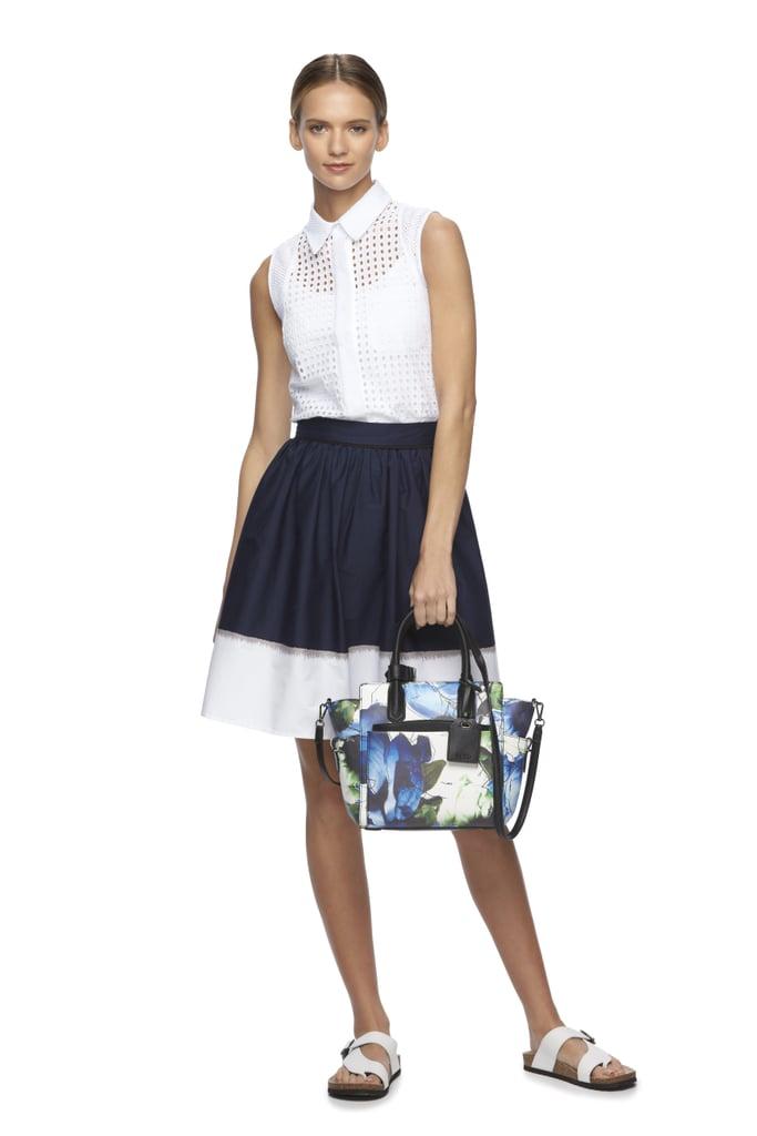 Eyelet Blouse ($60), Dip-Dyed Skirt ($60), and Atlantique Medium Convertible Satchel ($109)