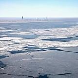 "Giant slabs of ""shelf"" ice topped Lake Michigan."