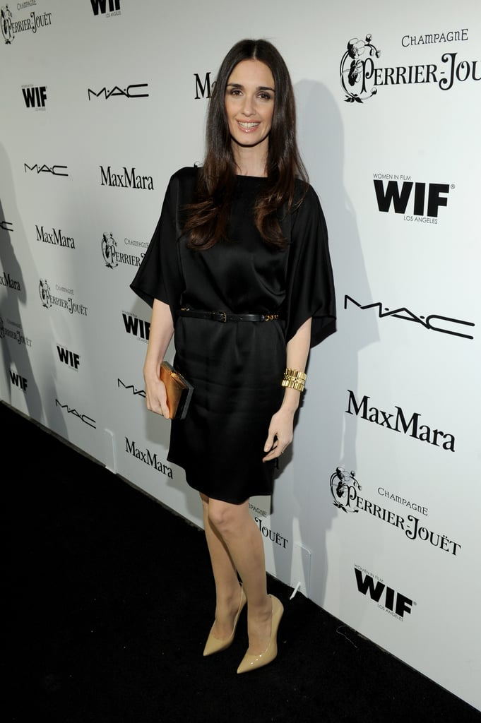 Paz Vega donned a silky little black dress with nude patent pumps to the Women in Film event in LA.