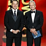 Matt Damon and Michael Douglas at the 2013 Emmy Awards