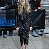 Amanda Seyfried showed off her slinky dress as she headed in to film The Daily Show in New York on Tuesday.
