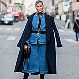 A Denim Jacket and Wide-Leg Denim Culottes