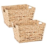 Living Room: Natural Water Hyacinth Storage Basket With Handles