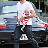 Jamie Mazur smiled while carrying baby Noah in Malibu.