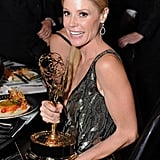 Modern Family's Julie Bowen, who won best supporting actress in a comedy, posed with her Emmy at the Governors Ball.