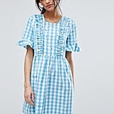 Vero Moda Gingham Ruffle Front Smock Dress