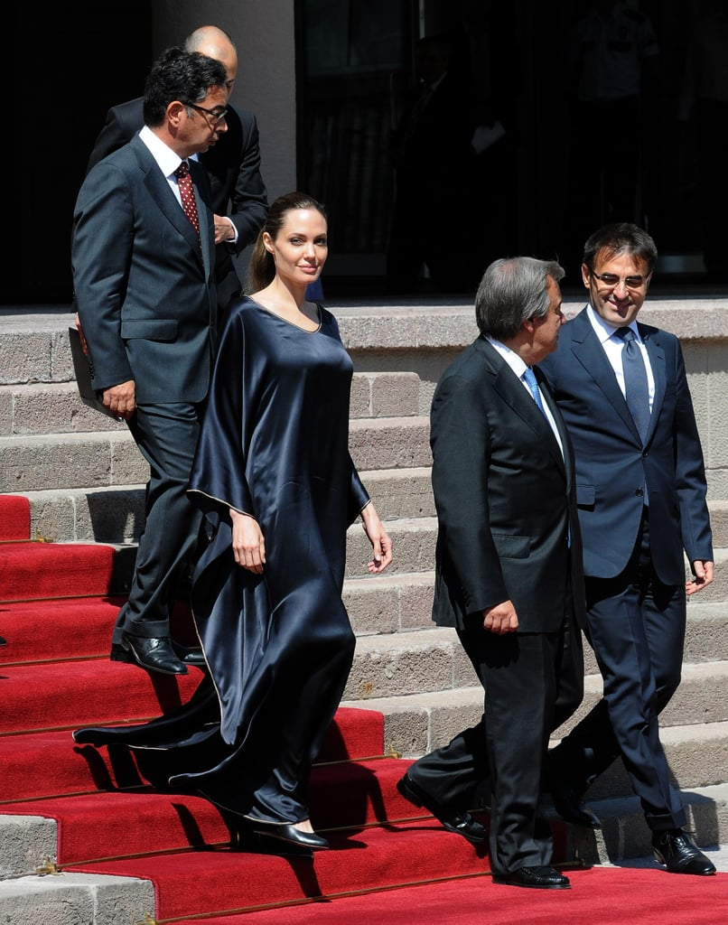 Angelina Jolie made her way down the steps.