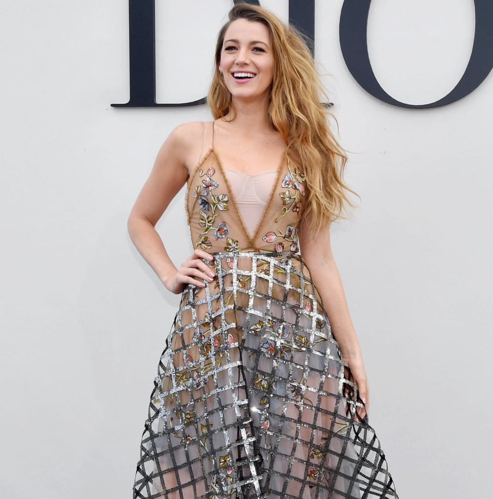 blake lively 39 s dior dress at paris fashion week 2018 popsugar fashion. Black Bedroom Furniture Sets. Home Design Ideas
