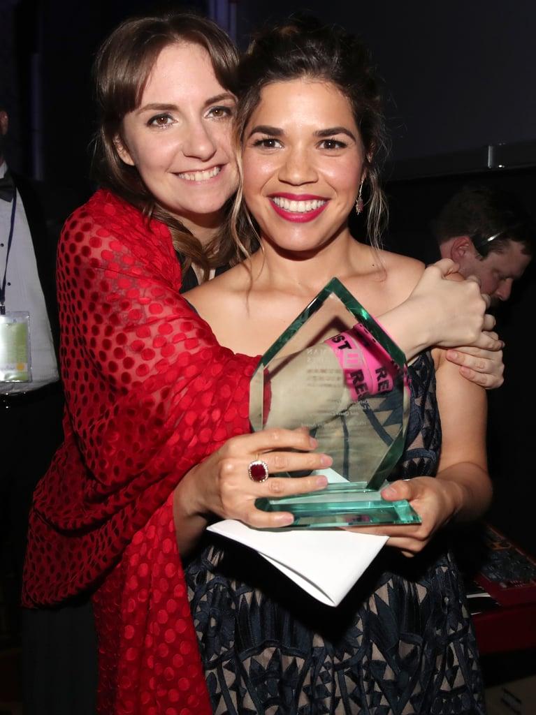 With Lena Dunham Backstage