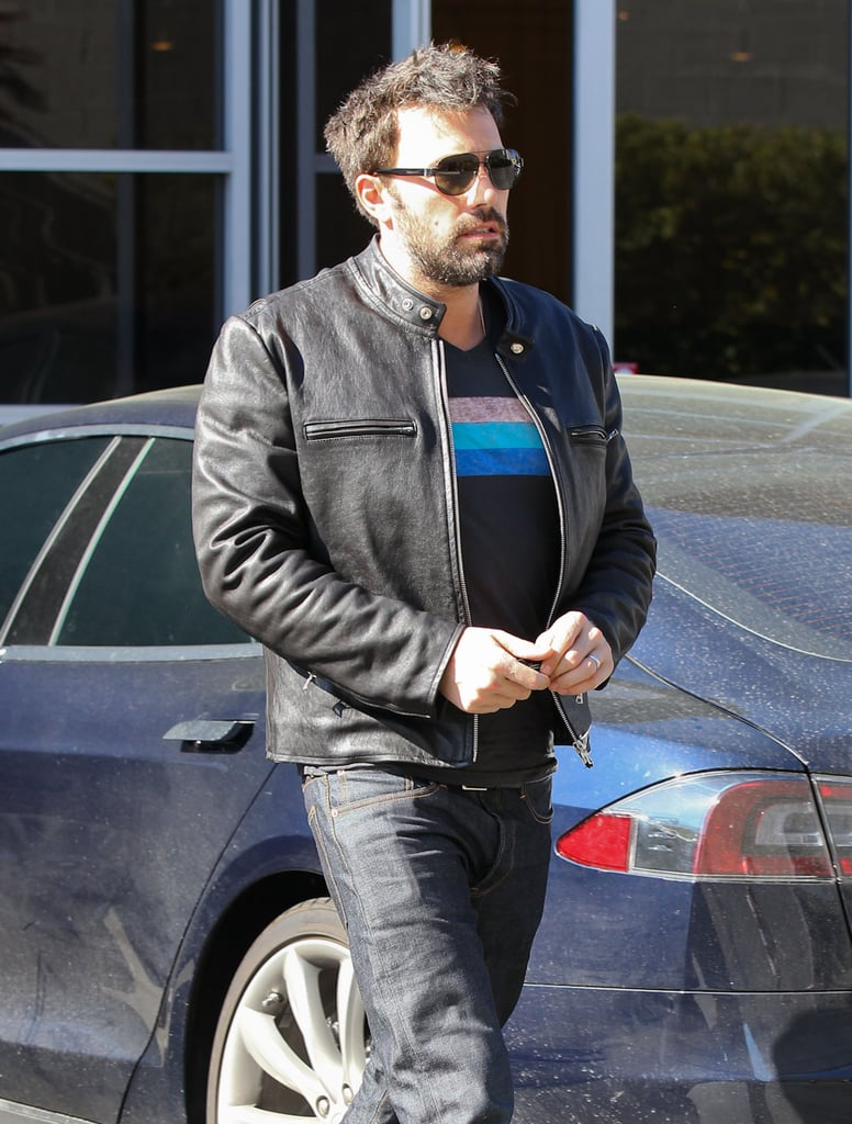 Ben Affleck wore a leather jacket to a meeting in Santa Monica.