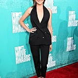 Shailene Woodley wore a black pants suit to the awards.
