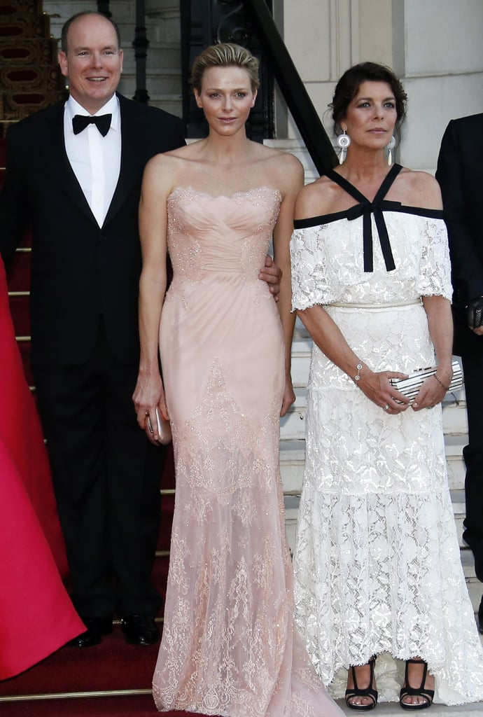 Princess Charlene of Monaco looked lovely in her pastel Atelier Versace gown and joined Prince Albert II of Monaco and a Chanel-clad Princess Caroline of Hanover to fete the Naked Heart Foundation.