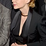 It didn't feature sparkling diamonds, but Carey Mulligan's stylish gold choker and wedding ring lent subtle shine to her understated tuxedo blazer.
