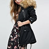 Miss Selfridge Leather Look Detail Parka With Faux Fur