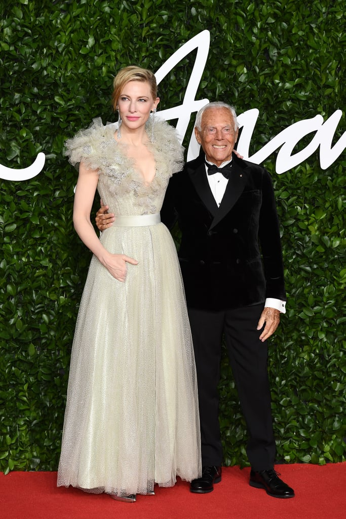 Cate Blanchett and Gorgio Armani at the British Fashion Awards 2019