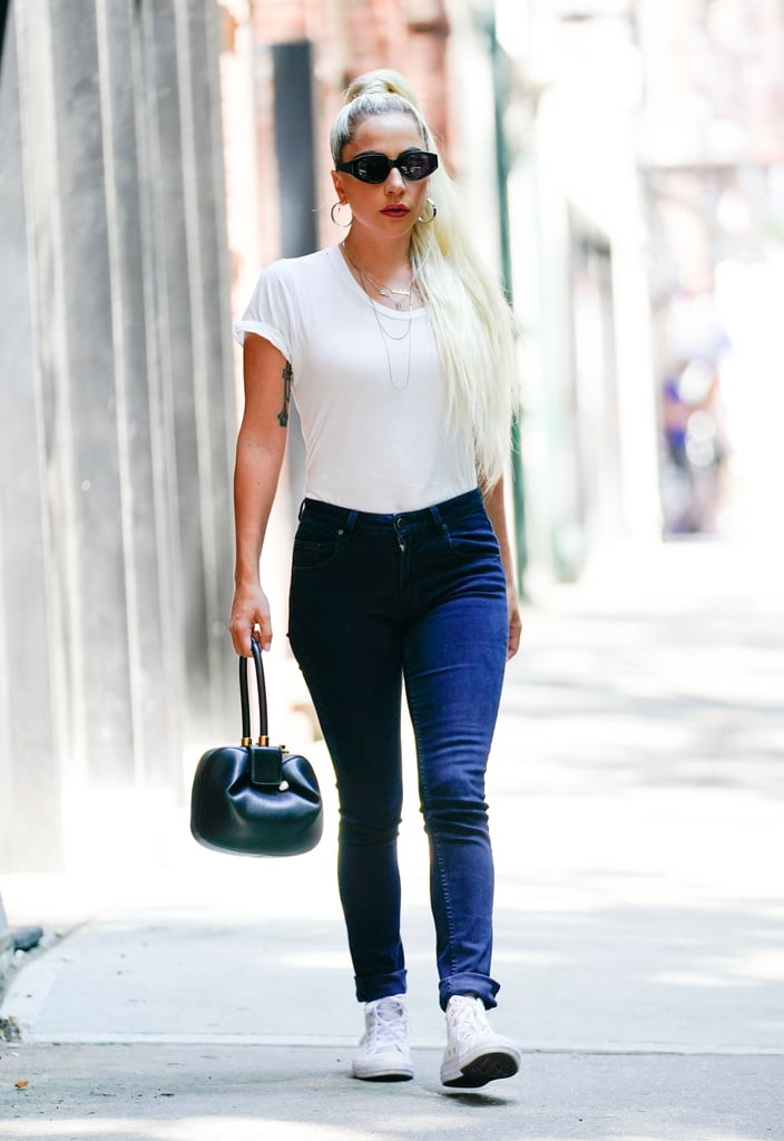 Rocking a classic white tee and jeans while out in NYC.