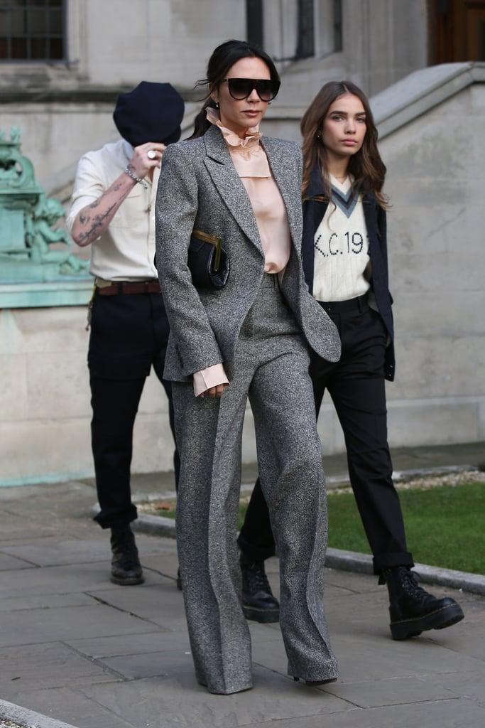 Victoria Beckham Gray Suit With Brooklyn Beckham Girlfriend