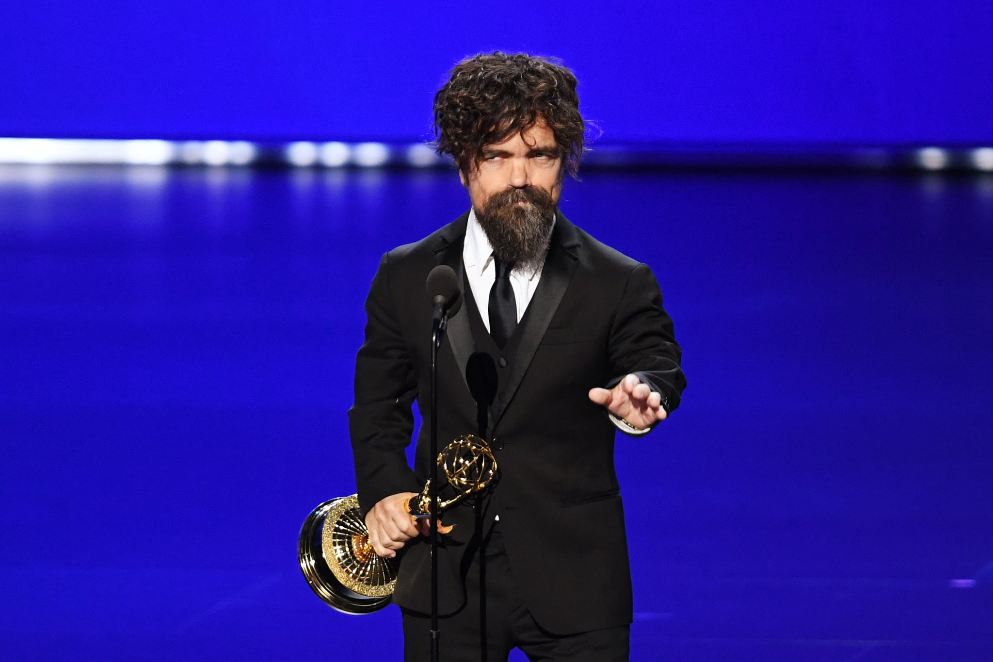 LOS ANGELES, CALIFORNIA - SEPTEMBER 22: Peter Dinklage accepts the Outstanding Supporting Actor in a Drama Series award for 'Game of Thrones' onstage during the 71st Emmy Awards at Microsoft Theatre on September 22, 2019 in Los Angeles, California. (Photo by Kevin Winter/Getty Images)