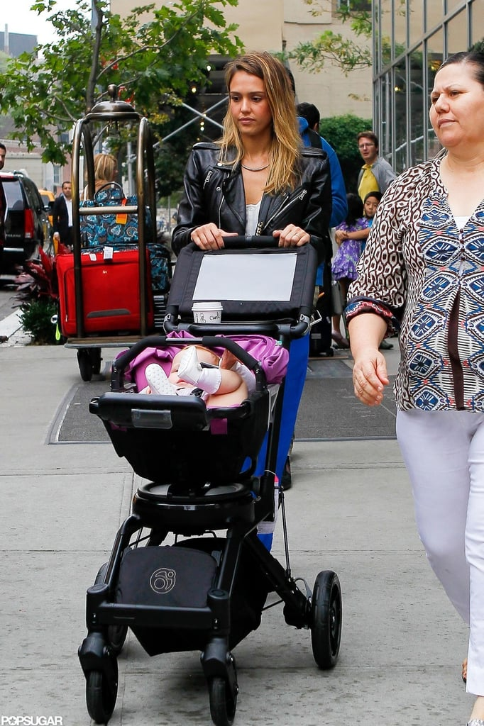 Jessica Alba made her way out of a hotel in NYC with baby Haven Warren in tow.