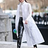 Work a black and white monochrome outfit and make sure your lighter pieces are just as standout as your pants.