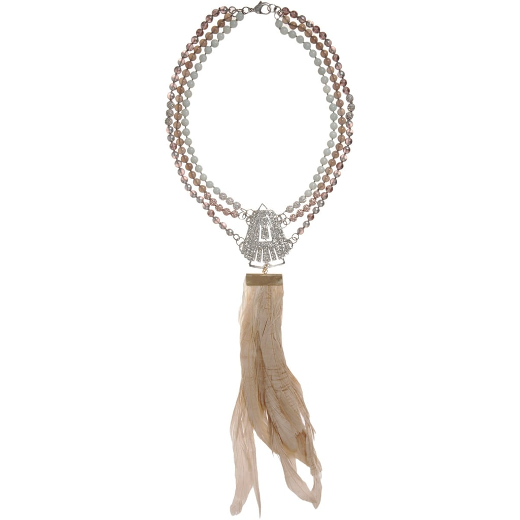 The perfect statement necklace to top off any look.  Fenton Crystal Sagamore Duster & Feather Pendant Necklace ($229, originally $575)