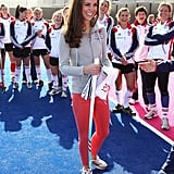 In March 2012, the Duchess of Cambridge wore a pair of running shoes while playing hockey with the GB teams in London.