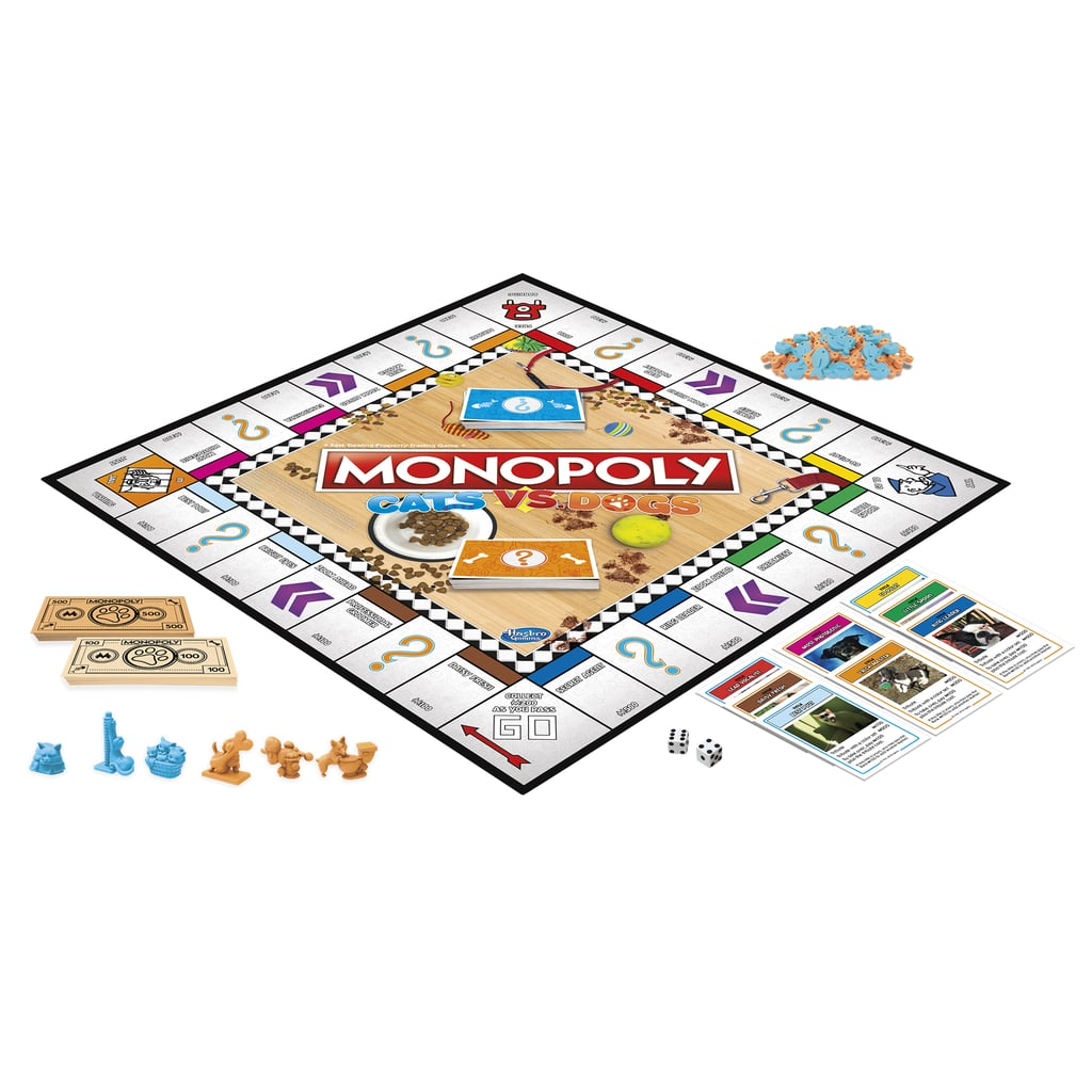 """While we were incredibly excited the moment we found out Fortnite Monopoly ($20) existed and our kids jumped for joy when Hasbro announced it was coming out with a L.O.L. Surprise version of the beloved game — which is hitting stores this Spring — nothing prepared us for the pure happiness we felt upon learning the brand is officially releasing a Cats vs. Dogs Monopoly Game ($20).  The new take on this childhood favorite, which quite literally pits pups and kitties against each other in the most adorable way, puts a sweet spin on the classic board game. Children 8 and up can move around the board — collecting nicknames, like """"Diva,"""" instead of properties — with sweet metallic cat or dog pieces. Read through to get an up close and personal look at the game, which will hit shelves in June. And FYI, if you just can't wait, Cats vs. Dogs Monopoly is available for preorder at Walmart right at this very moment!      Related:                                                                                                           WowWee Is Releasing a Baby Shark Fingerling and We Can't Keep It Together"""