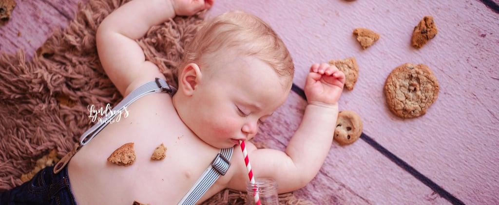 Photos of Baby Asleep During Milk and Cookies Birthday Shoot