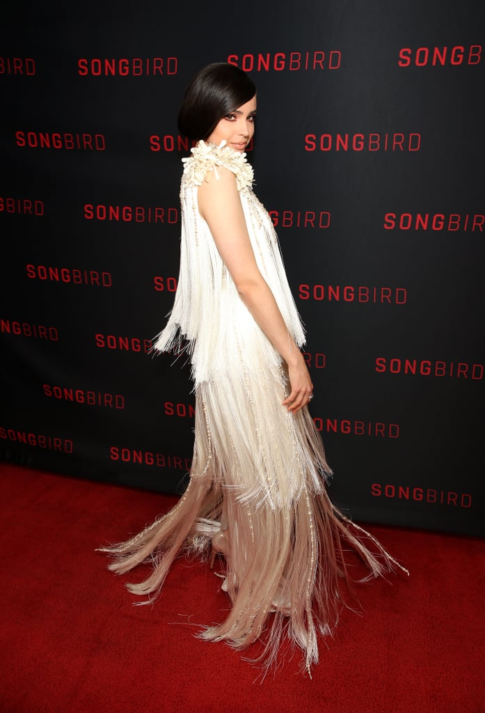 See Sofia Carson's Fringed Prada Dress at Songbird Premiere