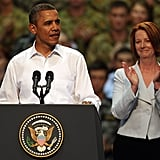 President Barack Obama addressed the troops at RAAF Darwin during his two-day visit to Australia in Nov. 2011.