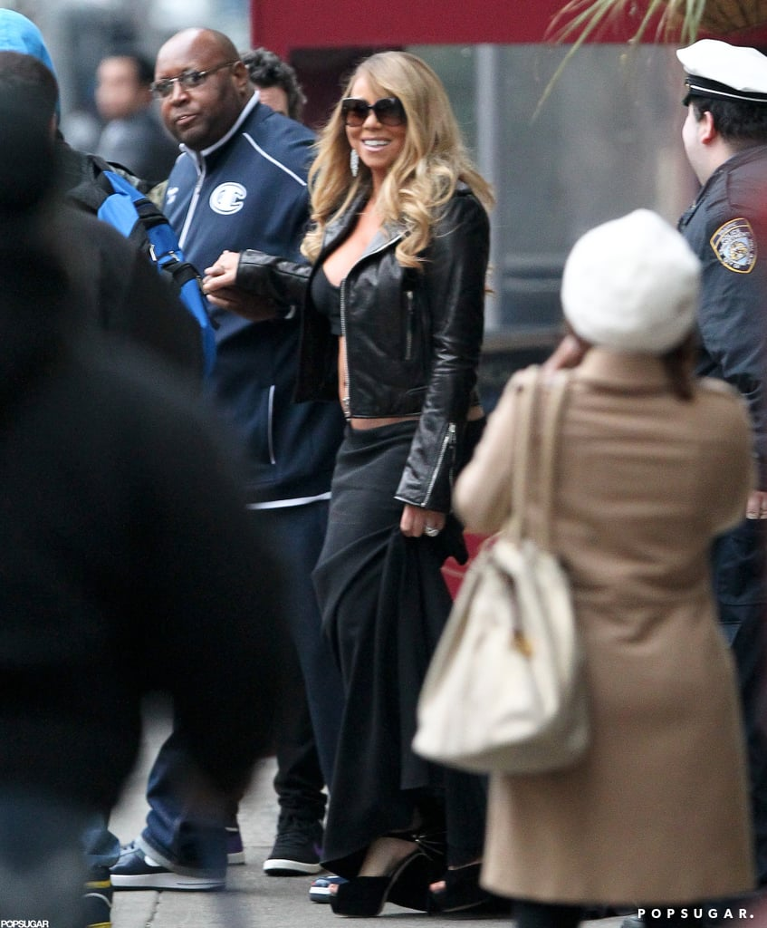 "Mariah Carey showed off her stomach when she strolled through NYC yesterday in a crop top and maxi skirt. During the afternoon, Mariah told her followers on Twitter that she would have to skip watching last night's episode of American Idol because of her work schedule. She wrote, ""Watching American Idol? I'll have to catch it later, grandiosity in the works! Pon de set."" Mariah didn't reveal what she was shooting, but her tummy-baring outfit may have been involved since, while it was warmer than usual in NYC, it was still the usual chilly January weather. One thing that Mariah made a point of not addressing on Twitter is the release of her ex-husband Tommy Mottola's memoir, Hitmaker, which hit store shelves on Tuesday. In his book, Tommy details his troubled relationship with Mariah, which he calls both ""a fairy tale"" and ""absolutely wrong and inappropriate."" The couple divorced in 1998."