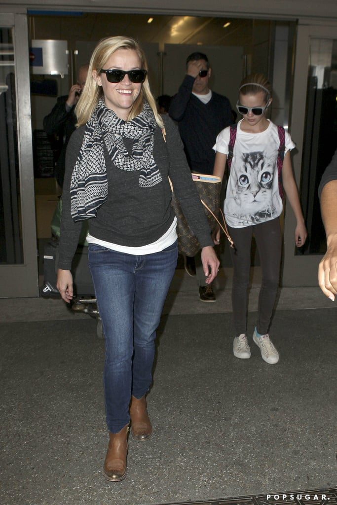 Reese Witherspoon and her daughter, Ava Phillippe, landed in LA yesterday. Jim Toth picked them up at the airport after they got away for a girls-only trip to France last week. Reese and Ava toured Paris, mixing the sights of the city with a little shopping during their stay.  Reese's homecoming follows the news that she will star in Don't Mess With Texas alongside Sofia Vergara. Reese will produce through her Pacific Standard production company, while Sofia will act as a coproducer. The movie is a female-centered buddy comedy that follows a police officer and her prisoner on the run, though production reportedly won't start until March 2014. In the meantime, Reese will get to work on Inherent Vice, joining Maya Rudolph and Joaquin Phoenix, who have already been in front of the cameras on set.