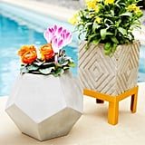 Concrete Etched Planters With Golden Stand