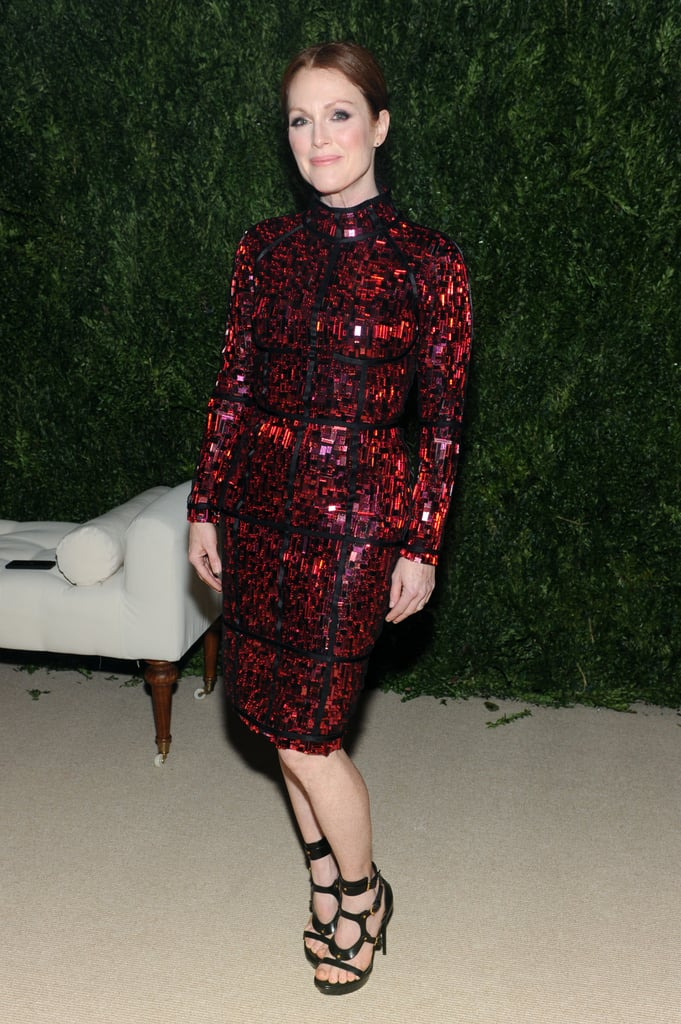 Holy shimmer! Julianne Moore accompanied Tom Ford in his smoldering cocktail dress at the CFDA/Vogue Fashion Fund fete and proved once and for all that redheads can wear red!