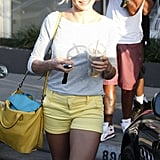 Cameron Diaz wore bright yellow shorts to get her hair done at the salon in LA.